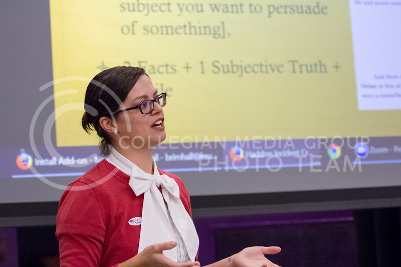 Traci Brimhall, Assistant Professor of English presents a lecture on Creativity and Craft in Mark Haddon's 'Curious Incident' in the Union on Nov. 7, 2017 (Alex Shaw | Collegian Media Group)