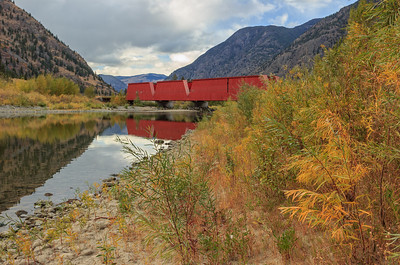 The Red Bridge Autumn  Foliage