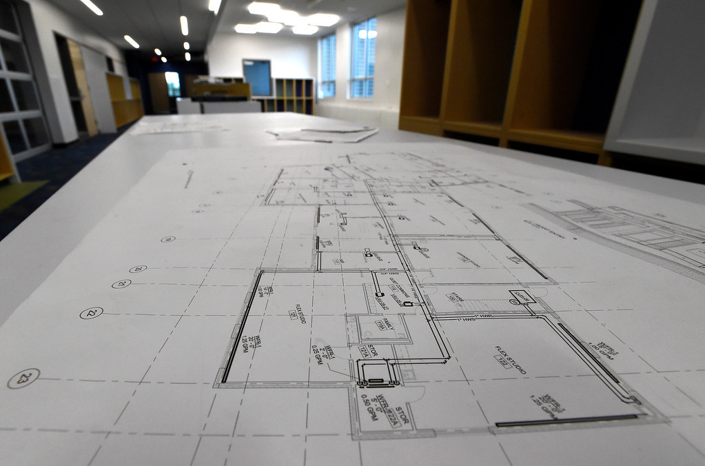 . Construction plans for a classroom sit on a table at Creekside Elementary School on Tuesday in Boulder. For more photos of the construction go to www.dailycamera.com Jeremy Papasso/ Staff Photographer/ May 16, 2017