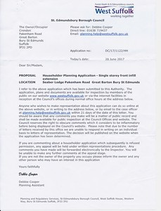 Planning Application Notification that my mother received 20 June 2017