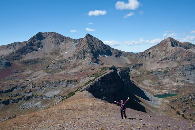 Mt Owen, Purple Peak and blue lake from the Scarp Ridge.