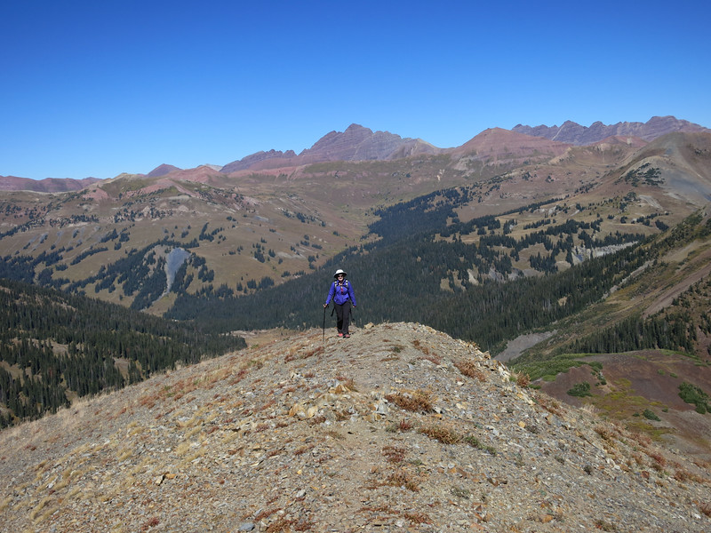 On the ridge with Maroon Bells in the background