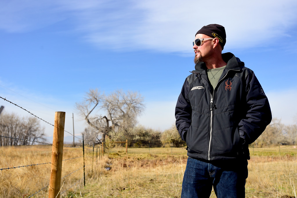 . Chris Davidson looks out on his property near Erie in Colorado on Nov. 10, 2017. Crestone Peak Resources is planning to drill up to 36 wells on a pad on Boulder County Open space that backs to Davidson\'s property.  (Photo by Matthew Jonas/Times-Call)