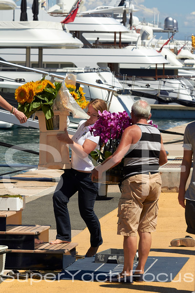 Crew with flowers