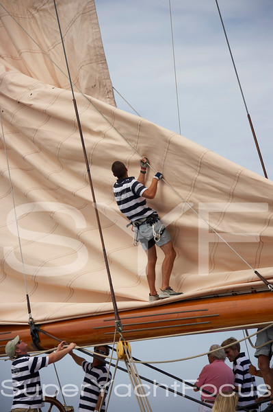 Hoisting the mainsail on Lulworth