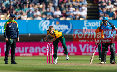 Nottinghamshire's Luke Wood bowling. Worcestershire Rapids v Notts Outlaws in the Vitality Blast semi final, played at Edgbaston 21 September 2019. Photographed by Nigel Parker/format94