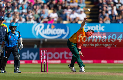 Dan Christian bowling for the Outlaws. Worcestershire Rapids v Notts Outlaws in the Vitality Blast semi final, played at Edgbaston 21 September 2019. Photographed by Nigel Parker/format94
