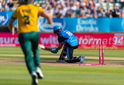 Worcestershire's Moeen Ali bowled. Worcestershire Rapids v Notts Outlaws in the Vitality Blast semi final, played at Edgbaston 21 September 2019. Photographed by Nigel Parker/format94
