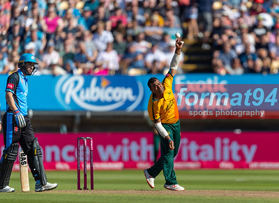 Outlaw's Samit Patel bowling. Worcestershire Rapids v Notts Outlaws in the Vitality Blast semi final, played at Edgbaston 21 September 2019. Photographed by Nigel Parker/format94