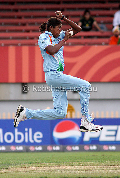 Jhulan Goswami bowling during the ICC Womens World Cup match between England and India, won by England at North Sydney Oval on Tuesday 10th March 2009 Photo: © ROB SHEELEY / SMP IMAGES