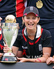 English captain Charlotte Edwards celebrates with the trophy after England were crowned ICC Women's World Champions by winning the ICC Womens World Cup Final between England Vs New Zealand at North Sydney Oval on The 22nd March 2009 Photo: © ROB SHEELEY / SMP IMAGES