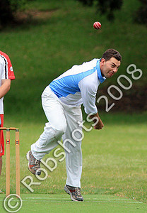 Adam Anderson bowls the first ball on the new Hollymount Park West synthetic wicket