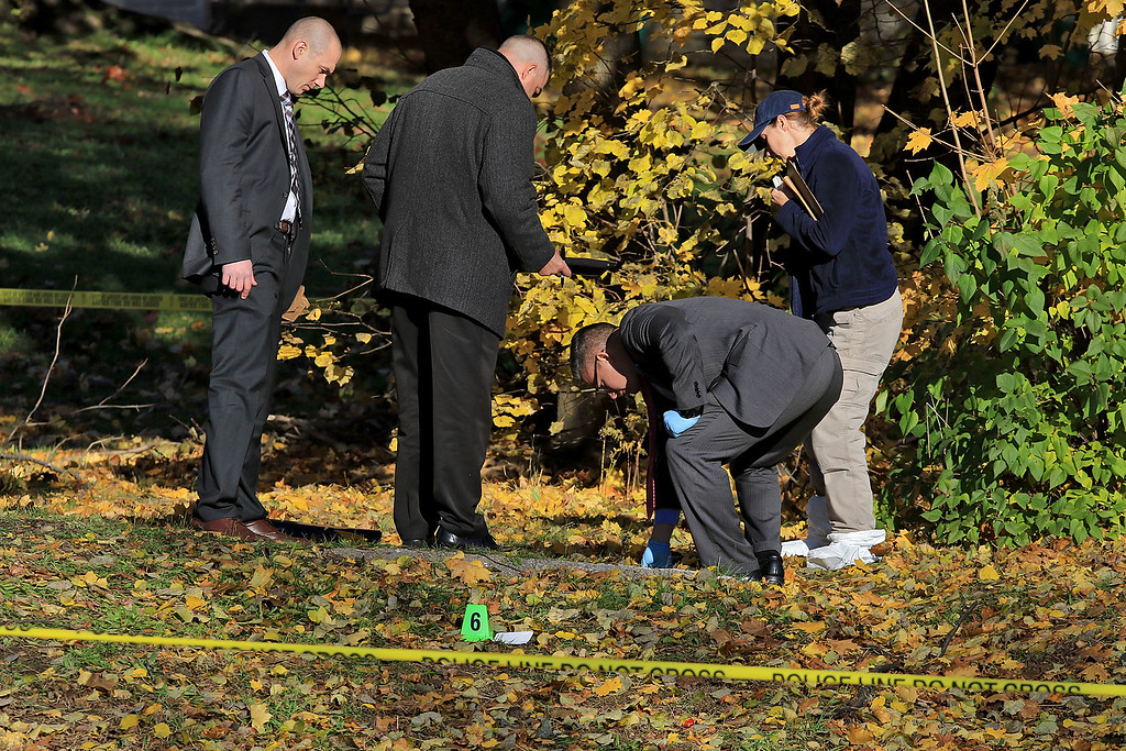 . Investigators go over the crime scene in the yard at 35 Wanoosnoc Road in Fitchburg on Wednesday morning, November 7, 2018. SENTINEL & ENTERPRISE/JOHN LOVE