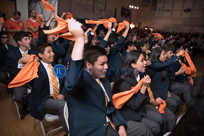 Students cheer for the fellow classmmates as they receive their work study appointments during Draft Day July 28 at Cristo Rey Dallas College Prep.