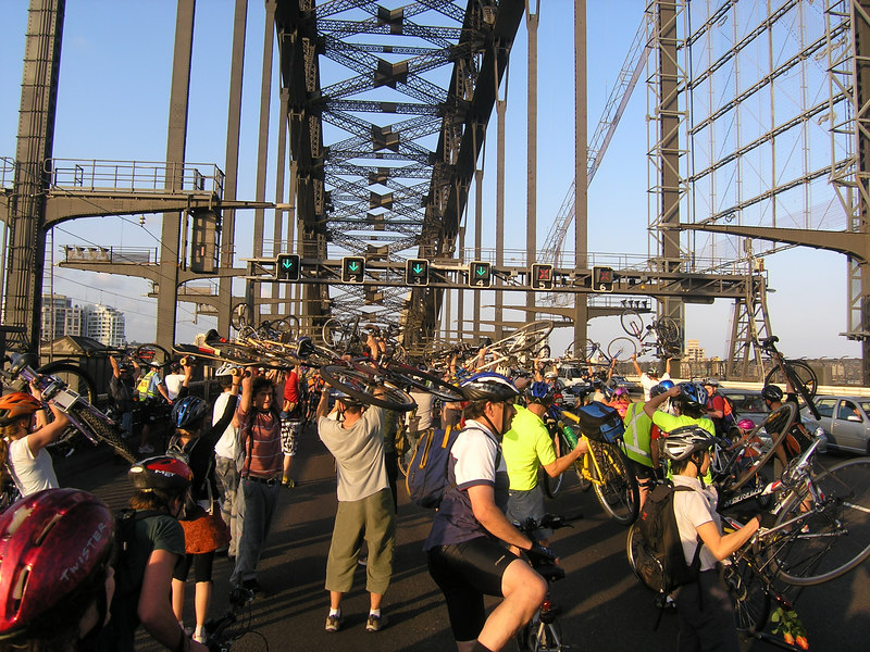 Bike lift on the bridge