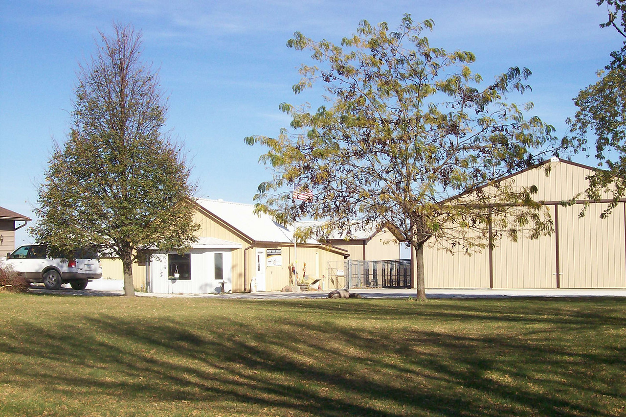 Critter Camp consists of 3 buildings.  One houses our office/reception/retail area, cat room, and office suites.  The second consists of the small dog boarding area, the isolation/quiet room, training room, and puppy park.  The third consists of the big dog boarding area and the groom room.