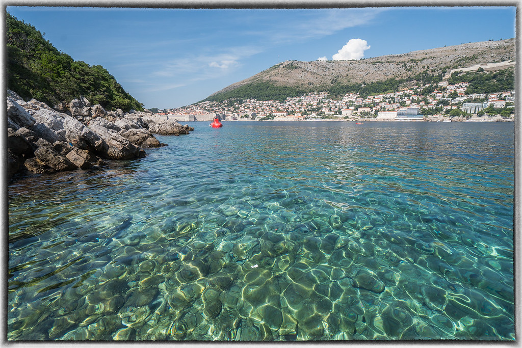 Green Adriatic From Lokrum Island With Dubrovnik in Distance