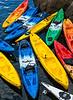 Colorful kayaks.