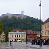 Congress Square, Ljubljana, with castle on the hill behind