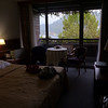 Our hotel room in Bled, Slovenia.  There's a castle on the hill beyond the tree and lake.
