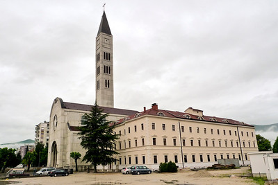Mostar Bosnia - Herzegovina, Church bell tower built to be taller than mosque tower in following photo.