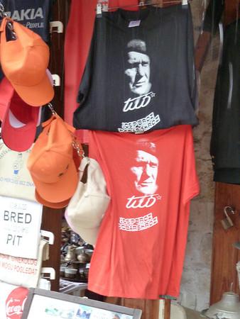 Mostar Bosnia - Herzegovina  Tito remembered via t-shirts.