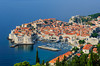 A view of the historic old city of Dubrovnik from a nearby hillside position.