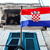 Croatian flag on a building in Dubrovnik