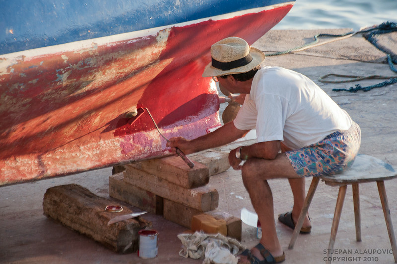 Hvar Fisherman Painting Boat