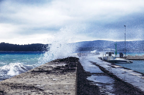 Waiting for the Korcula ferry during a storm at Orebic in Croatia