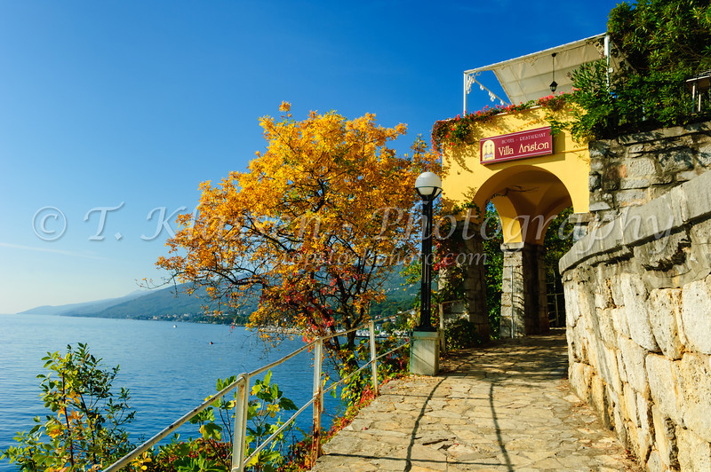 Scenic views along the Lungomare, seaside walk from Opatija to Lovran.
