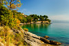 Scenic views along the Lungomare, seaside walk from Opatija to Lovran, Croatia.