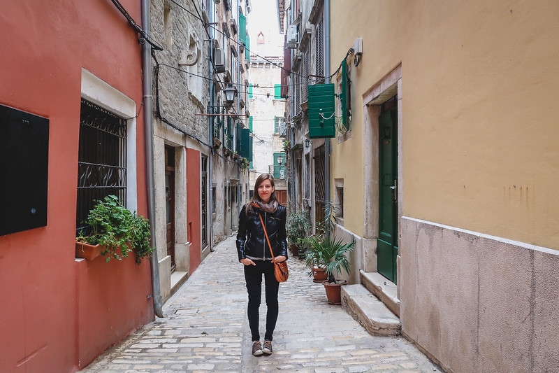 Walking the narrow streets of Rovinj on our day trip