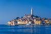 The village skyline and the Adriatic Sea at Rovinj, Croatia, Istria.