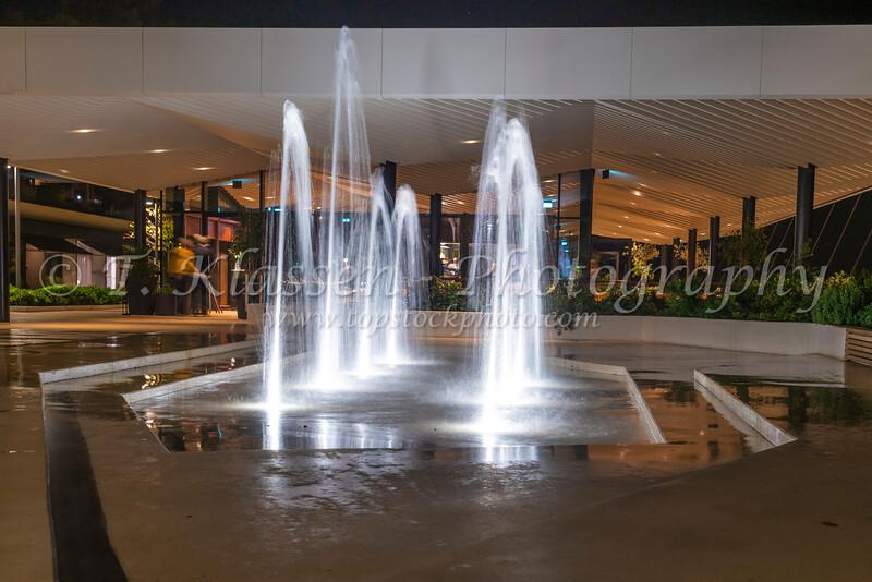 Decorative fountains on the promenade at the Grand Hotel at Rovinj, Croatia, Istria.