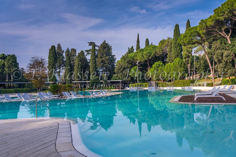 The Hotel Eden outdoor swimming pool at Rovinj, Croatia, Istria.