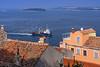 A fishing boat with swarms of seagulls off Rovinj, Croatia, Istria.