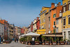 A street with colorful buildings and an outdoor restaurant at Rovinj, Croatia, Istria.