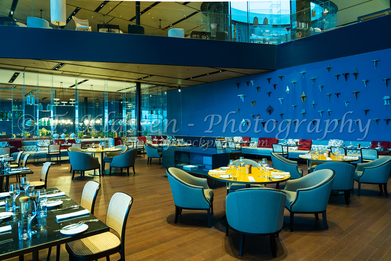 A colorful restaurant at the Grand Hotel at Rovinj, Croatia, Istria.