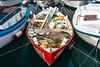 A closeup of a fishing boat loaded with gear at Rovinj, Croatia, Istria.