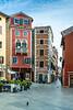 A street with colorful buildings at Rovinj, Croatia, Istria.