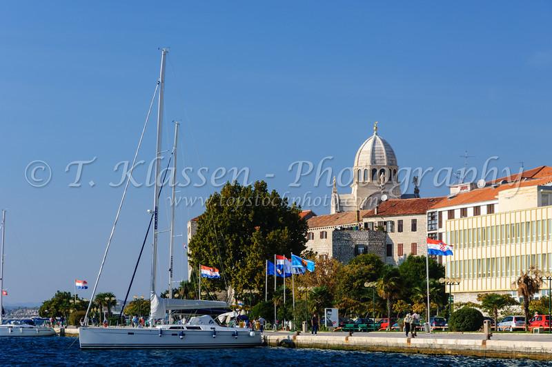 The waterfront promenade and harbour of Sibenik, Croatia.