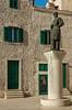 The statue of Jurai Dalmatinek outside the Cathedral of St. James in Sibenik, Croatia.