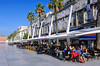 The new waterfront of Split, Croatia with restaurants, cafes and shops.
