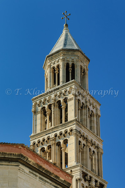 The bell tower of the Cathedral of St. Domnius in Split, Croatia.