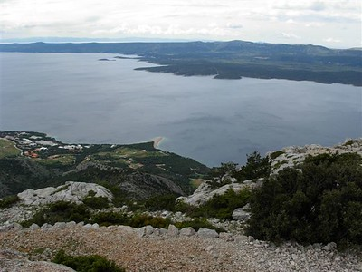 Brac look toward Hvar with Bol in foreground