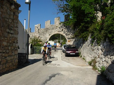 riding from Hvar hotel though old wall