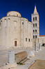 The church of St. Donat and the St. Anastasia's Cathedral bell tower in Zadar, Croatia,