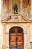 The front door of a church in Zagreb, Croatia.