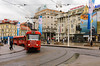 Train transportation on Ban Jelacic Square in Zagreb, Croatia.
